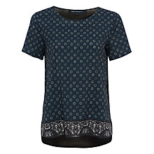 Buy French Connection Altman Plains Short Sleeve Top, Indigo/Multi Online at johnlewis.com