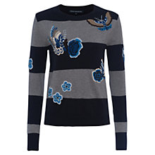 Buy French Connection Argento Crew Neck Jumper, Utility Blue/Dark Grey Melange Online at johnlewis.com