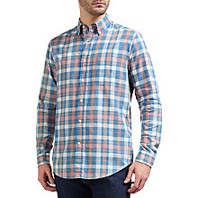 Buy Gant Madras Veggie Check Shirt, Blue Ocean Online at johnlewis.com