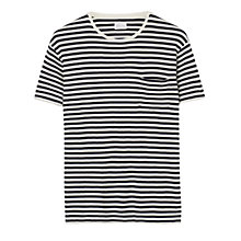 Buy Gant Rugger Organic Cotton Waffle Stripe T-Shirt, Cream/Navy Online at johnlewis.com