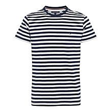 Buy Tommy Hilfiger Striped Logo T-Shirt, Dutch Navy/Classic White Online at johnlewis.com