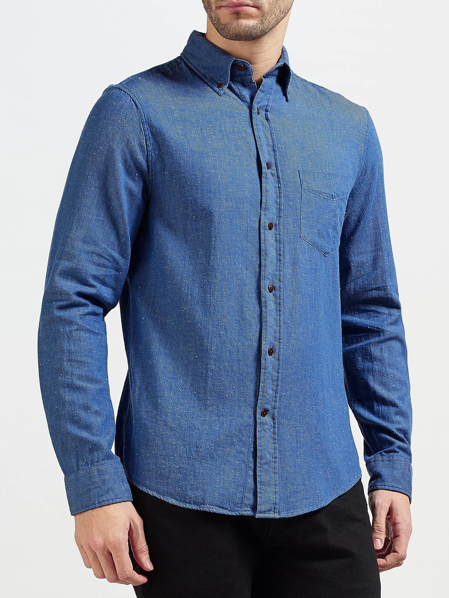 BuyGant Rugger Indigo Slub Twill Shirt Light Blue L Online At Johnlewis