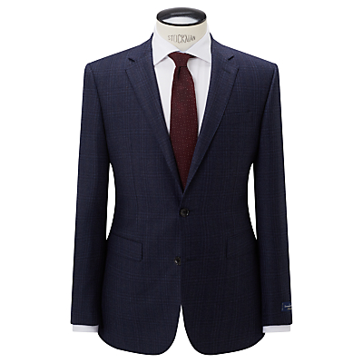 John Lewis Ermenegildo Zegna Super 160s Wool Check Half Canvas Tailored Suit Jacket, Navy