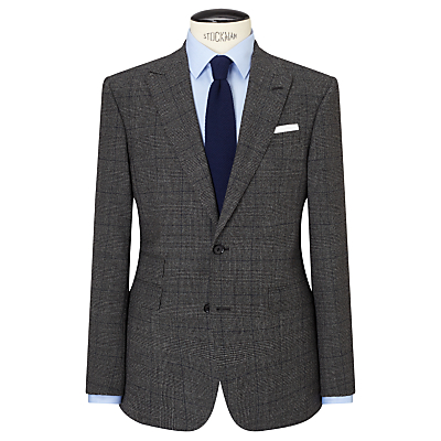 John Lewis Wool Check Peak Lapel Tailored Suit Jacket, Charcoal