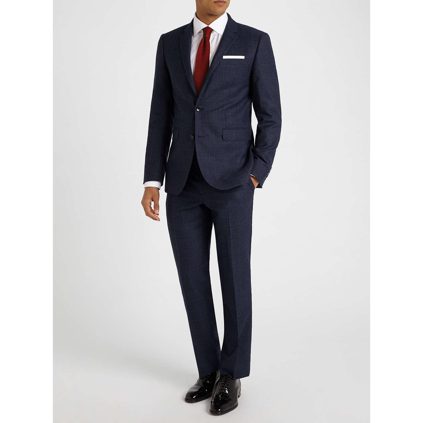 BuyJohn Lewis Check Super 100s Wool Tailored Fit Suit Trousers, Navy, 44R Online at johnlewis.com