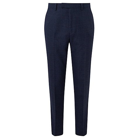 Buy John Lewis Check Super 100s Wool Tailored Fit Suit Trousers, Navy Online at johnlewis.com