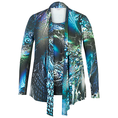 Chesca Abstract Peacock Jersey Top, Navy