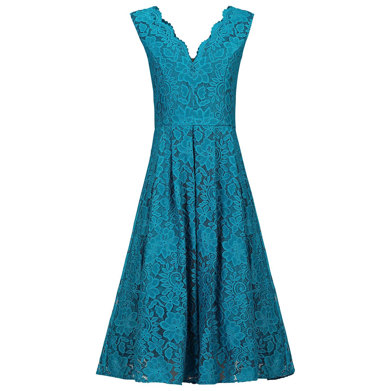 Jolie Moi Scalloped V-Neck Lace Prom Dress, Teal at John Lewis