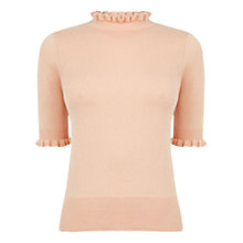 Buy Oasis Cute Frill Knit Jumper, Light Neutral Online at johnlewis.com