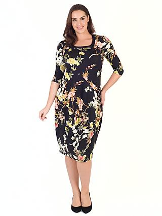 Chesca Oriental Floral Dress, Black