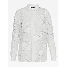 Buy French Connection Manzoni Lace Long Sleeve Shirt, Summer White Online at johnlewis.com