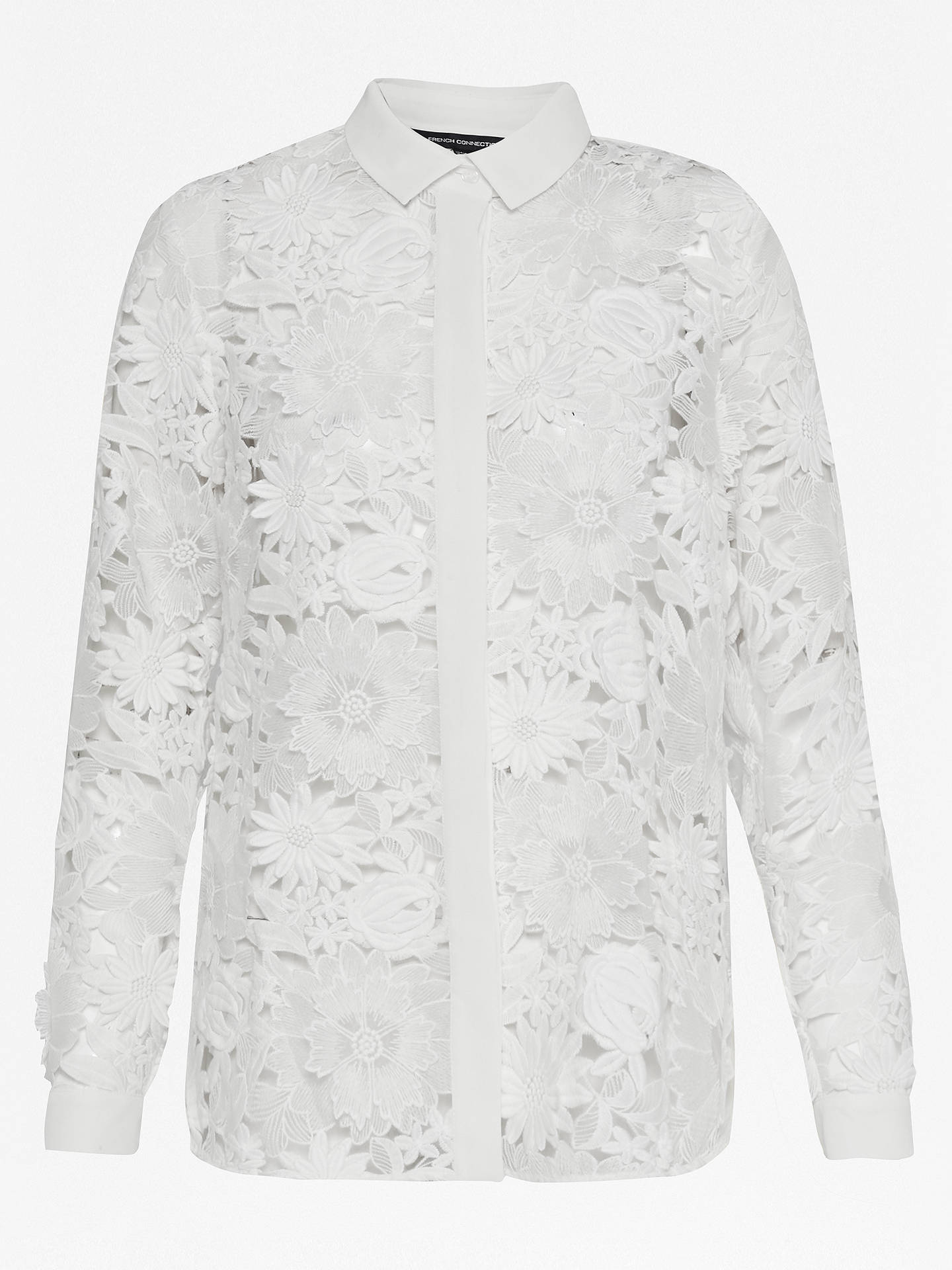 38ff8a9164cc8 Buy French Connection Manzoni Lace Long Sleeve Shirt, Summer White, 6  Online at johnlewis ...
