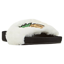 Buy Dune Luau Faux Fur Slider Sandals, White Online at johnlewis.com