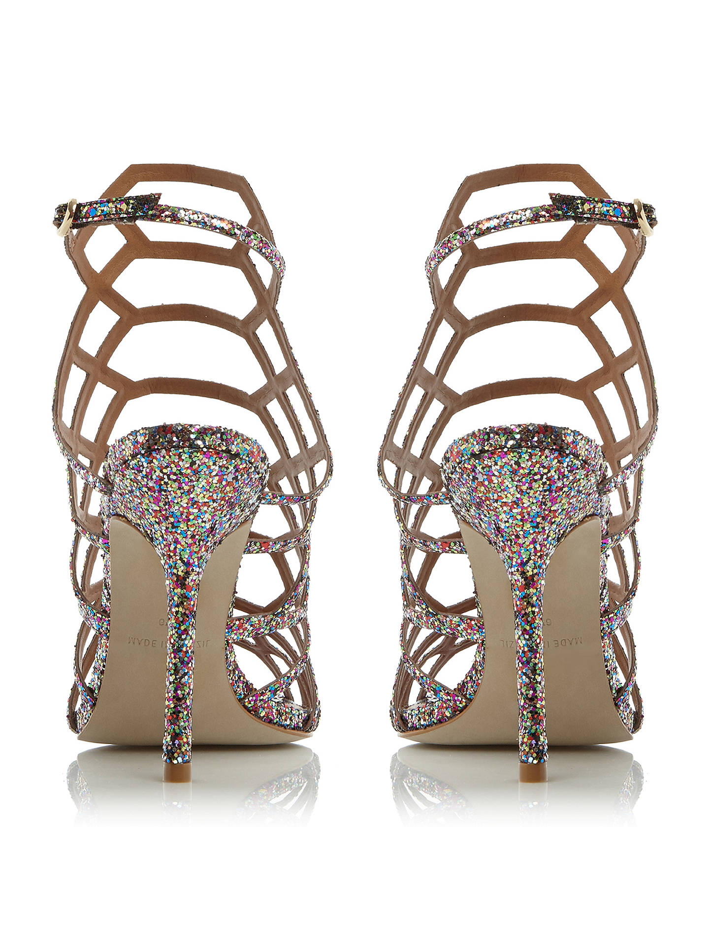 Buy Steve Madden Slithur High Heeled Cage Sandals, Glitter, 5 Online at johnlewis.com