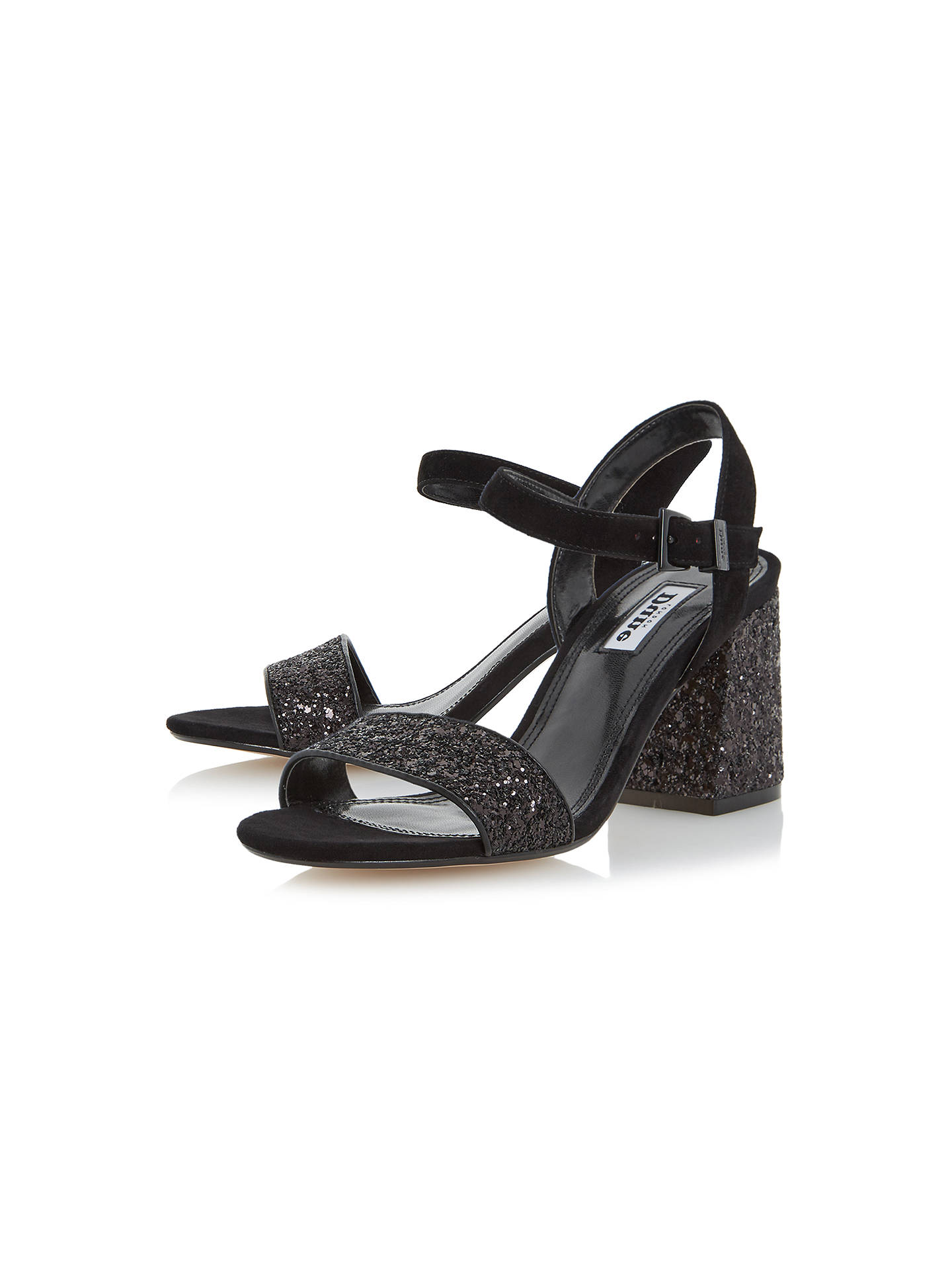 Buy Dune Mylow Block Heeled Sandals, Black Glitter, 3 Online at johnlewis.com