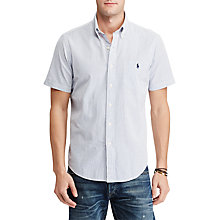 Buy Polo Ralph Lauren Slim Fit Striped Short Sleeve Cotton Shirt, Blue/White Online at johnlewis.com