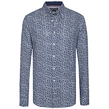 Buy Tommy Hilfiger Cotton-Linen Poplin Fitted Floral Print Shirt, Navy Online at johnlewis.com