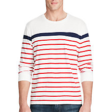 Buy Polo Ralph Lauren Standard Fit Striped Long Sleeve T-Shirt, White/Multi Online at johnlewis.com