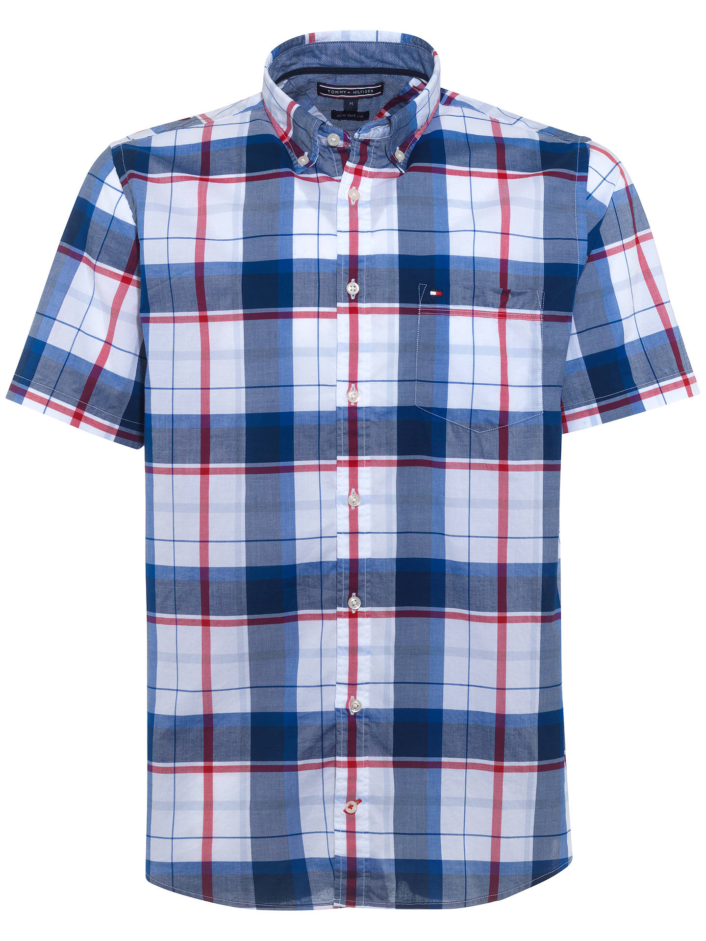 7b40fede Buy Tommy Hilfiger Sid Short Sleeve Check Cotton Shirt, Apple Red/Classic  White/ ...