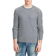 Buy Polo Ralph Lauren Stripe Cotton Cashmere Jumper, Navy/Light Grey Heather Online at johnlewis.com
