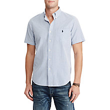 Buy Polo Ralph Lauren Slim Fit Check Short Sleeve Cotton Shirt, Azure/Navy Online at johnlewis.com