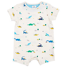 Buy John Lewis Baby Dinosaur Romper, Cream Online at johnlewis.com