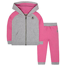 Buy Converse Baby Raglan Hoodie and Joggers Set, Pink/Grey Online at johnlewis.com