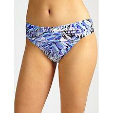 Buy John Lewis Feathered Palm Fold Down Bikini Briefs, Blue Online at johnlewis.com