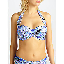 Buy John Lewis Feathered Palm Sling Halter Bikini Top, Blue Online at johnlewis.com