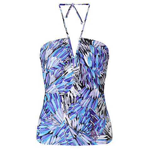 Buy John Lewis Feathered Palm V-Wire Tankini Top, Blue Online at johnlewis.com