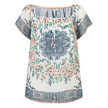Buy Joie Taj Tie Neck Floral Print Top, Apricot Online at johnlewis.com