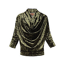 Buy Jolie Moi Cowl Neck Velvet Batwing Top, Khaki Online at johnlewis.com