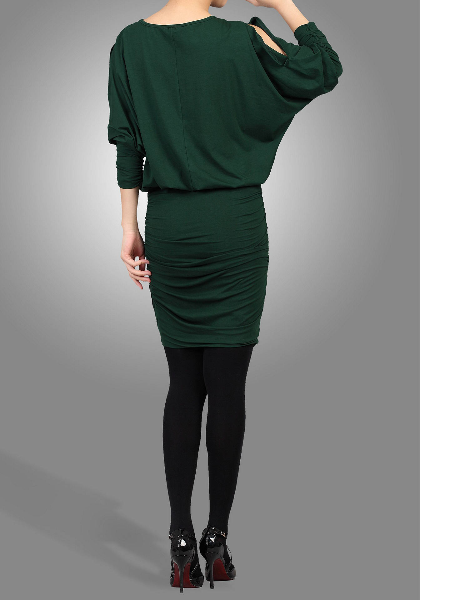BuyJolie Moi Batwing Ruched Tunic Dress, Dark Green, S Online at johnlewis.com