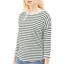Buy Jigsaw Cotton Slub Stripe Slouchy T-Shirt, Dark Kale Online at johnlewis.com