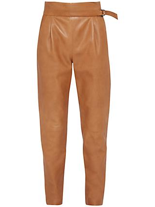 French Connection Goldenburg Leather Trousers, Terra Tan