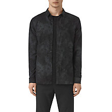 Buy AllSaints Termo Floral Long Sleeve Slim Shirt, Charcoal Online at johnlewis.com