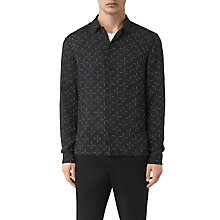 Buy AllSaints Needles Long Sleeve Slim Shirt, Jet Black Online at johnlewis.com