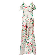 Buy Miss Selfridge Floral Bias Frill Maxi Dress, Nude Online at johnlewis.com