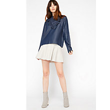 Buy Miss Selfridge Chambray Ruffle Front Blouse, Indigo Online at johnlewis.com