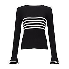 Buy Miss Selfridge Stripe Frill Cuff Jumper, Black/White Online at johnlewis.com