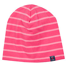 Buy Polarn O. Pyret Baby Stripe Beanie Hat, Pink/White Online at johnlewis.com