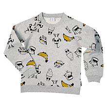 Buy Polarn O. Pyret Boys' Cartoon Banana Sweatshirt, Grey Online at johnlewis.com