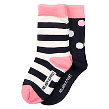 Buy Polarn O. Pyret Baby Spot Stripe Socks, Black/Pink Online at johnlewis.com
