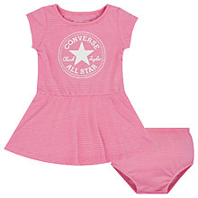 Buy Converse Baby Chuck Patch Striped Dress and Knickers Set, Fuchsia Online at johnlewis.com