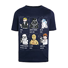Buy LEGO Boys' Star Wars Grid T-Shirt, Blue Online at johnlewis.com