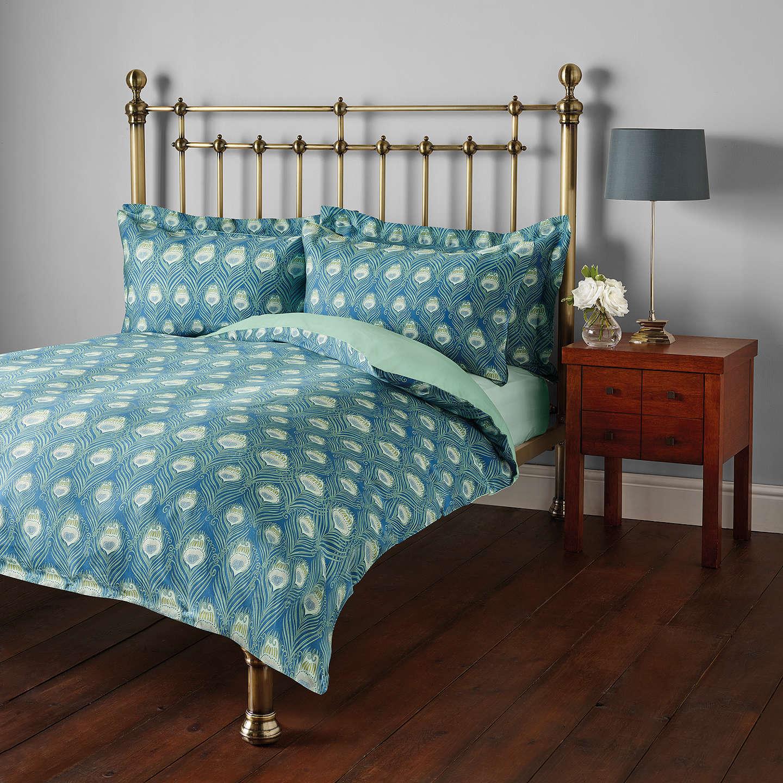 Liberty Fabrics John Lewis Caesar Print Cotton Standard Pillowcase Rich Blue Online At Johnlewis