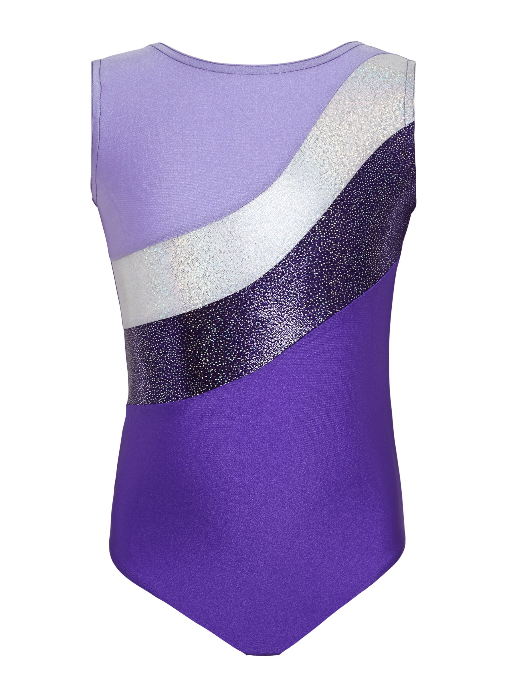 Tappers and Pointers Tappers and Pointers Sparkling Stripes Sleeveless Gymnastics Leotard, Purple