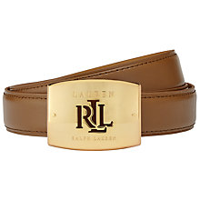 Buy Lauren Ralph Lauren Plaque Buckle Leather Belt, Tan Online at johnlewis.com