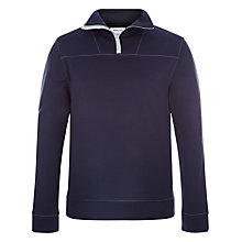 Buy Hamilton and Hare Fleeceback Zip Neck Top, Navy Online at johnlewis.com