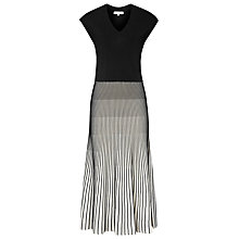 Buy Reiss Cedrica Plisse Dress, Black/White Online at johnlewis.com